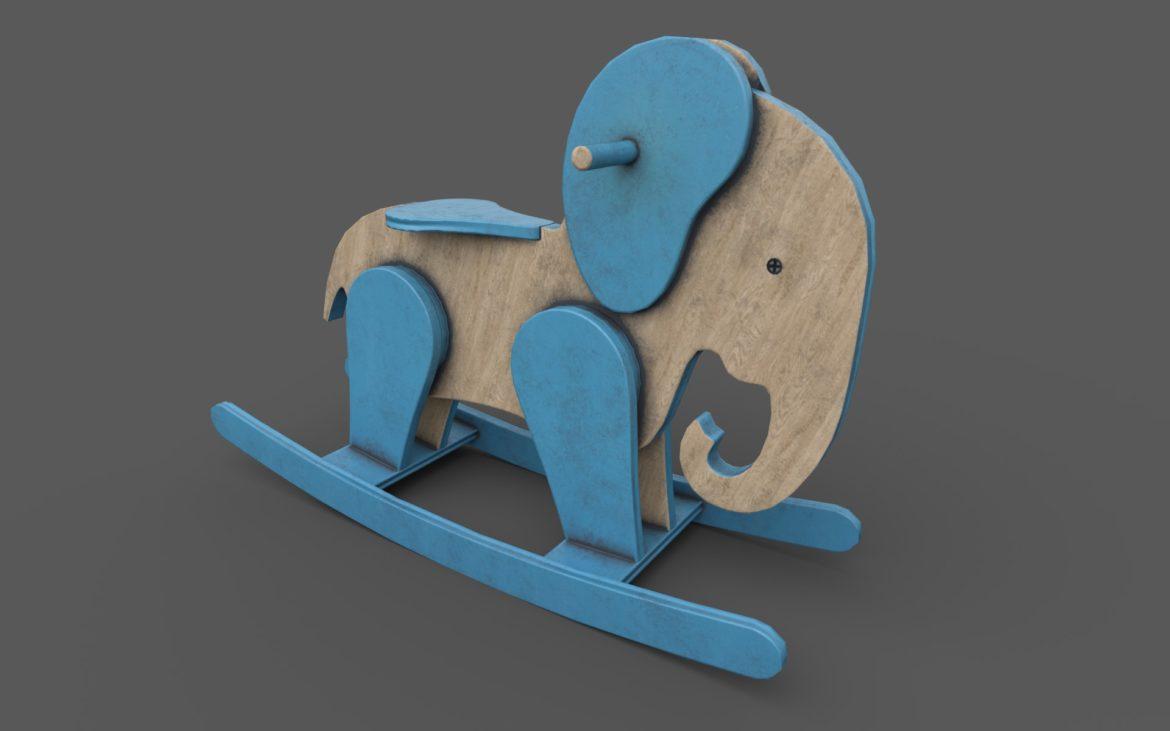 wooden elephant rocking horse 3d model 3ds max fbx dae  obj 308384