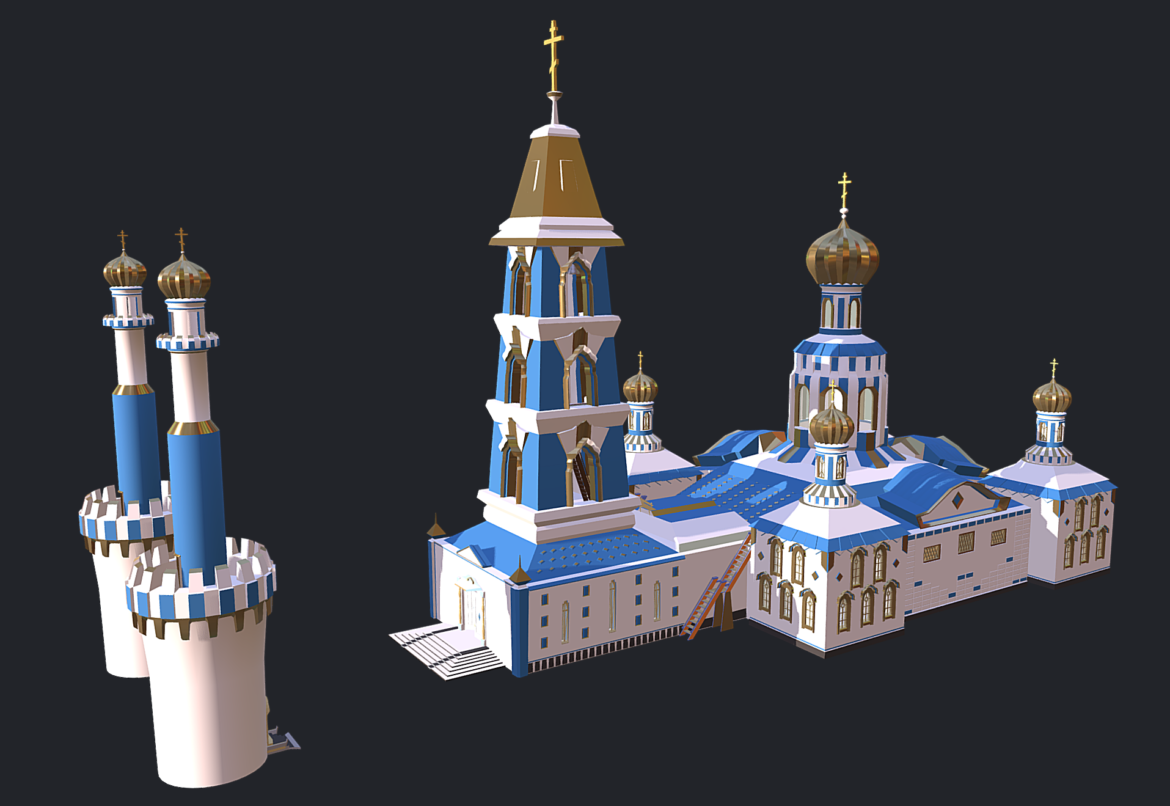 russian cathedral -temple – church 3d model fbx 308559