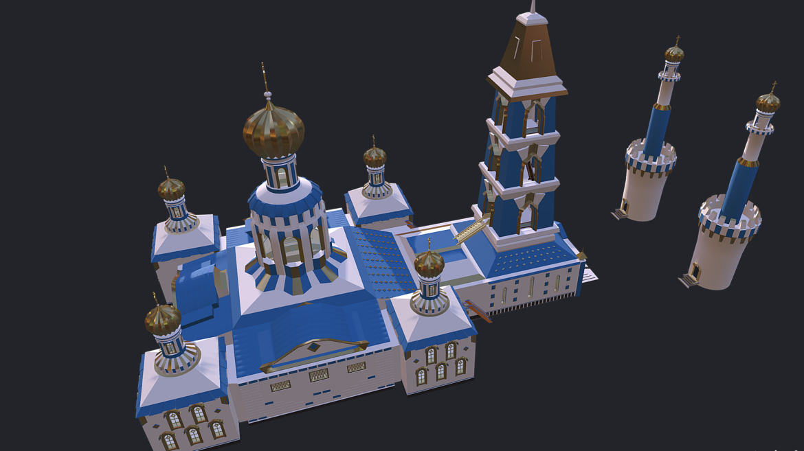 russian cathedral -temple – church 3d model fbx 308564