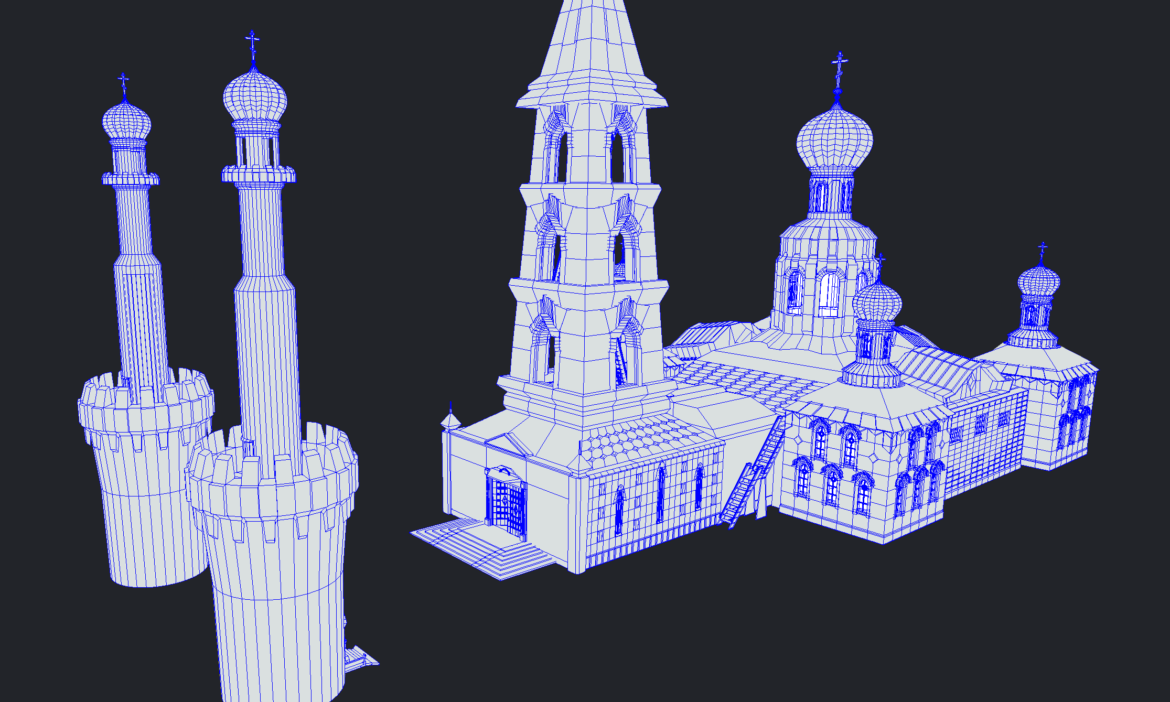 russian cathedral -temple – church 3d model fbx 308575