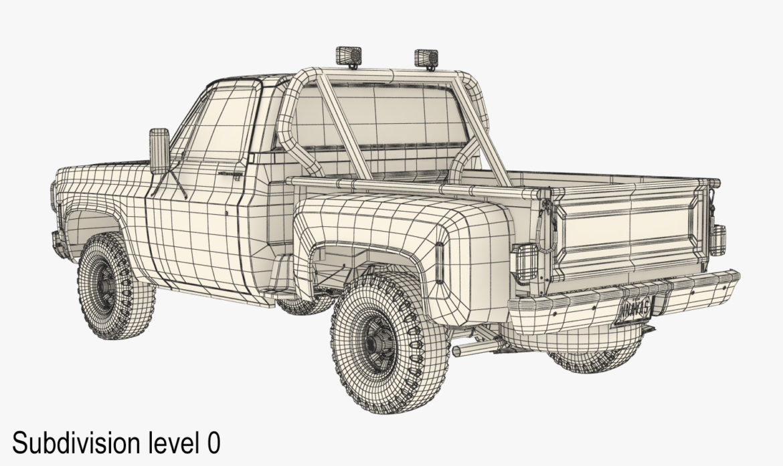 generic 4wd stepside pickup truck 11 3d model 3ds max fbx obj 309310