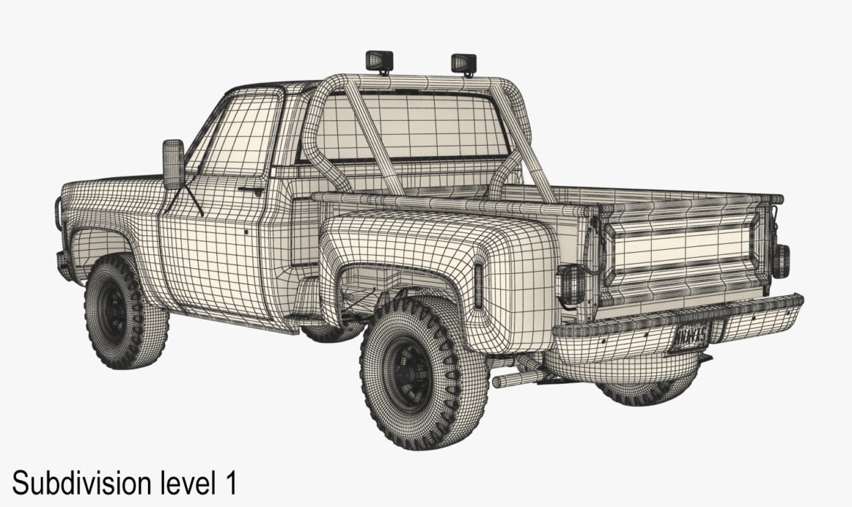 generic 4wd stepside pickup truck 11 3d model 3ds max fbx obj 309311