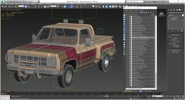 generic 4wd stepside pickup truck 11 3d model 3ds max fbx obj 309312