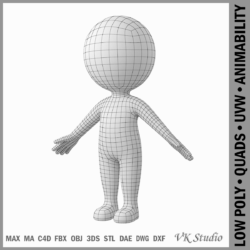 sticer ciwt wedi'i steilio mewn model 3d a-pose 3ds max dxf dwg fbx c4d dae ma mb obj 309609