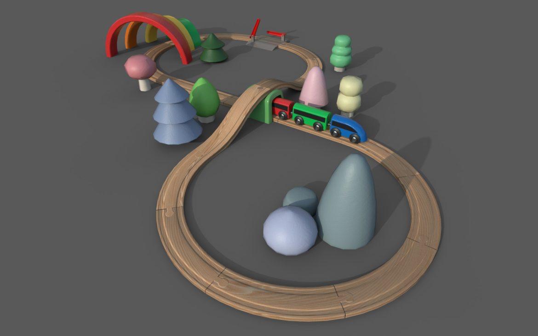 wooden train 3d model 3ds max fbx dae  obj 309812