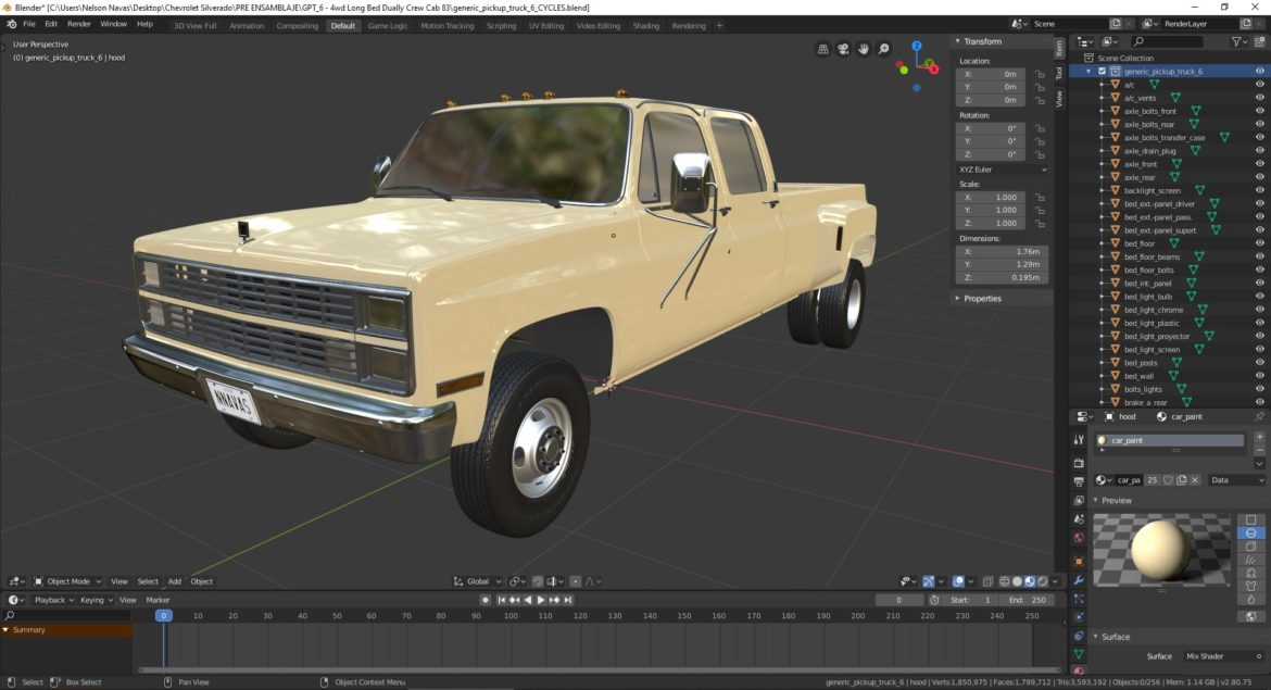 generic 4wd dually pickup truck 6 3d model 3ds max fbx blend obj 310446