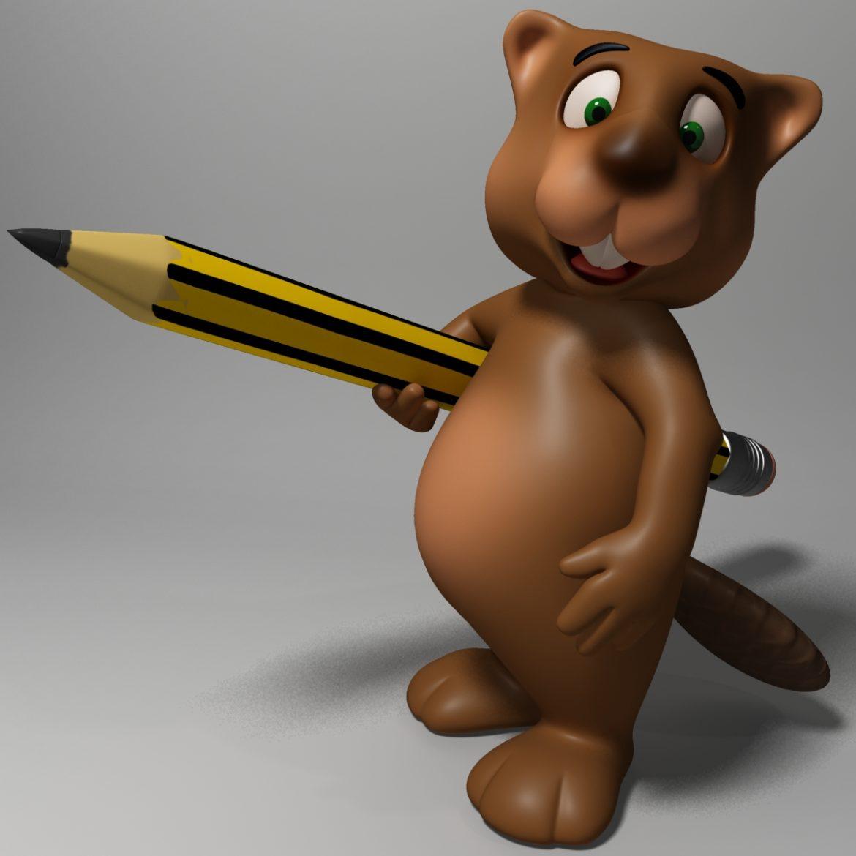 cartoon beaver rigged 3d model 3ds max fbx  obj 310584