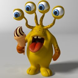 cartoon yellow moster rigged 3d model 3ds max fbx  obj 310790