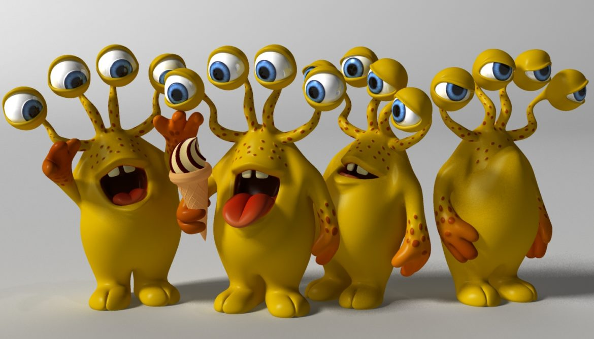 cartoon yellow moster rigged 3d model 3ds max fbx  obj 310791