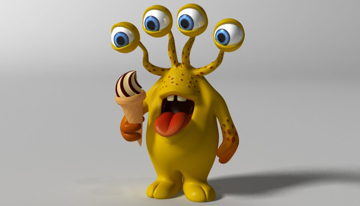 cartoon yellow moster rigged 3d model 3ds max fbx  obj 310792