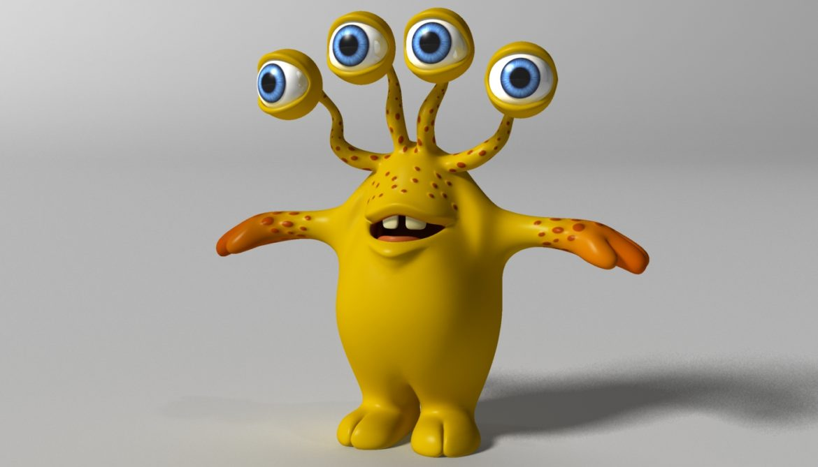 cartoon yellow moster rigged 3d model 3ds max fbx  obj 310793