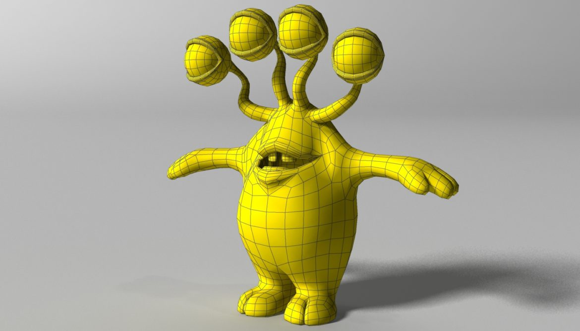 cartoon yellow moster rigged 3d model 3ds max fbx  obj 310796