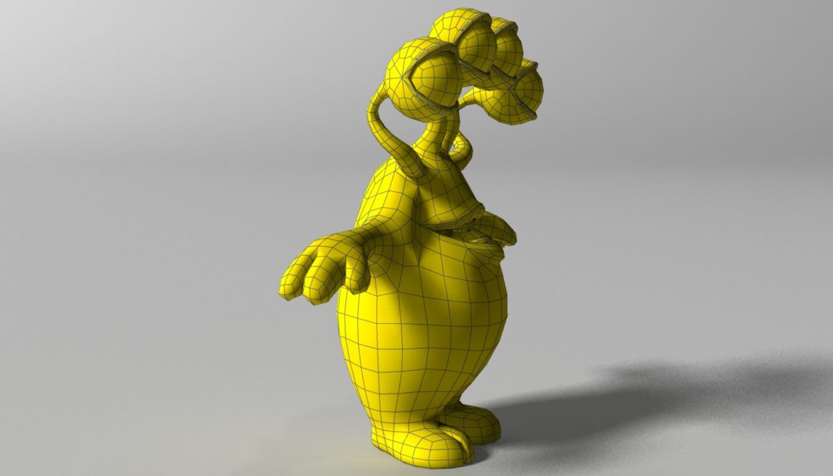 cartoon yellow moster rigged 3d model 3ds max fbx  obj 310797