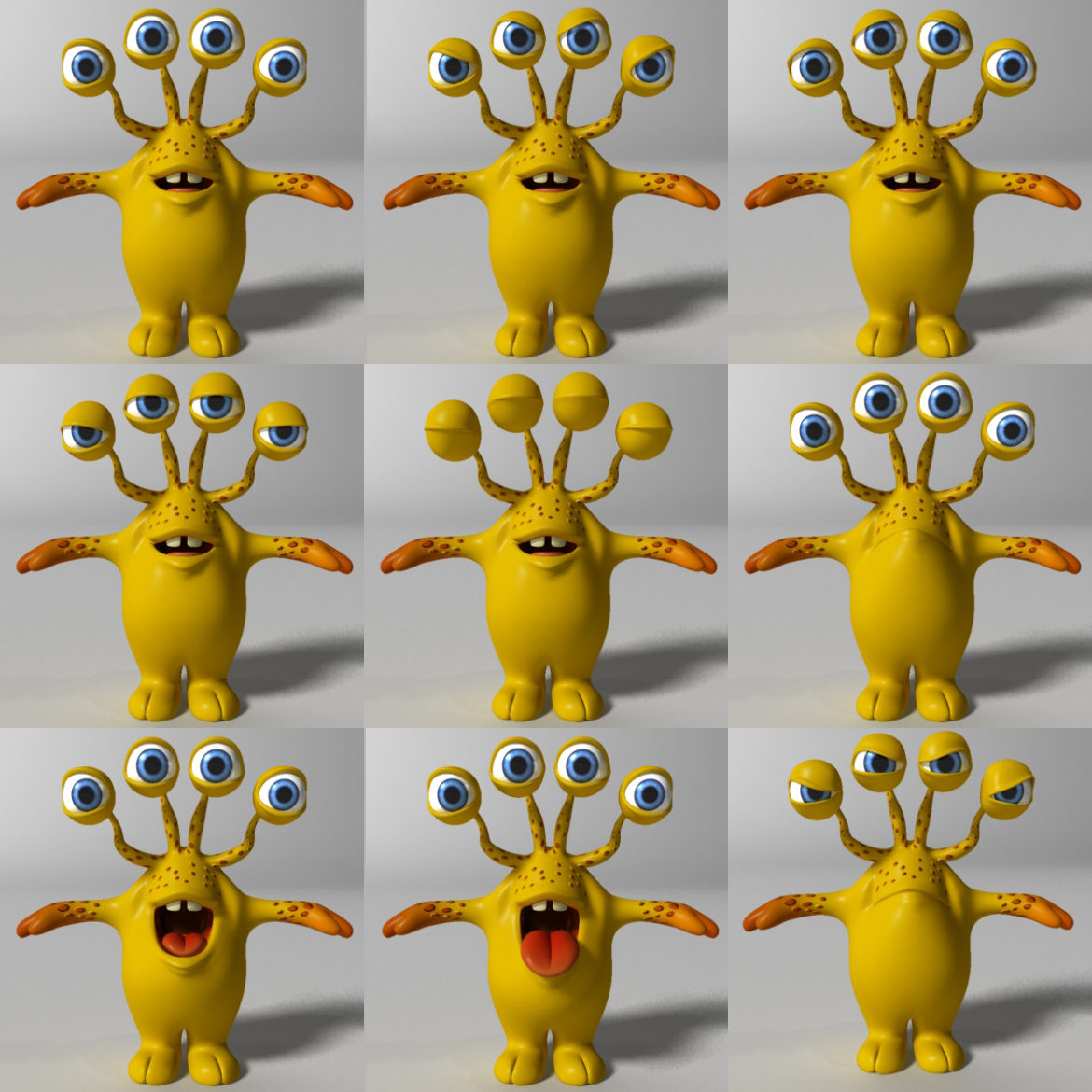 cartoon yellow moster rigged 3d model 3ds max fbx  obj 310799
