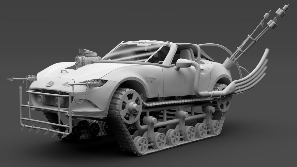 mad max mazda mx 5 maita crusher 3d model 3ds max fbx c4d lwo ma mb hrc xsi obj 311603
