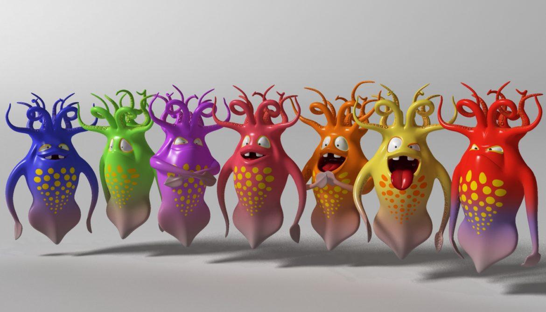 cartoon squid monster rigged 3d model 3ds max fbx  obj 311767