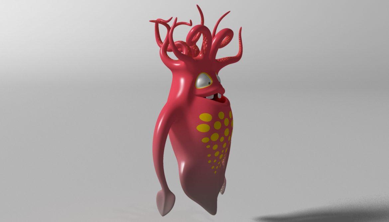 cartoon squid monster rigged 3d model 3ds max fbx  obj 311769