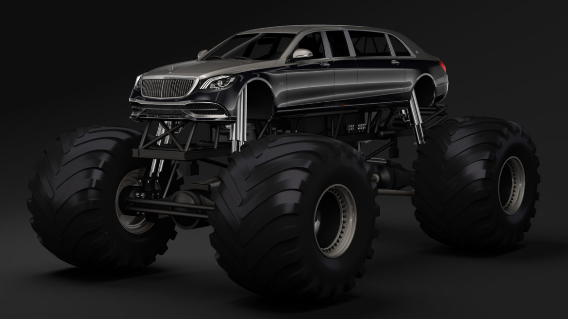 monster truck mercedes maybach s 650 pullman 3d model 3ds max fbx c4d lwo ma mb hrc xsi obj 312106