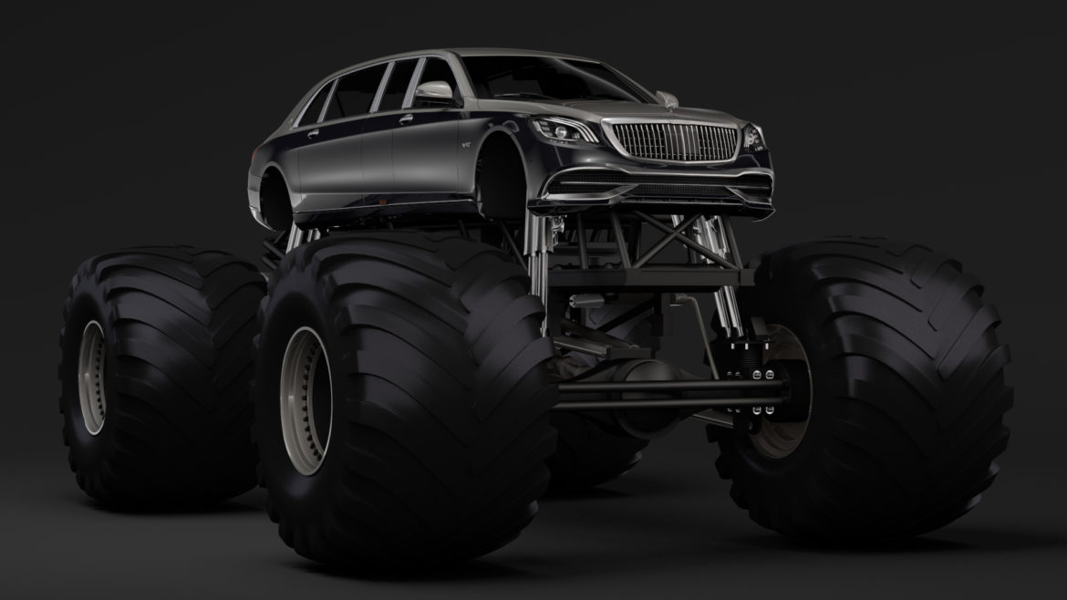 monster truck mercedes maybach s 650 pullman 3d model 3ds max fbx c4d lwo ma mb hrc xsi obj 312107