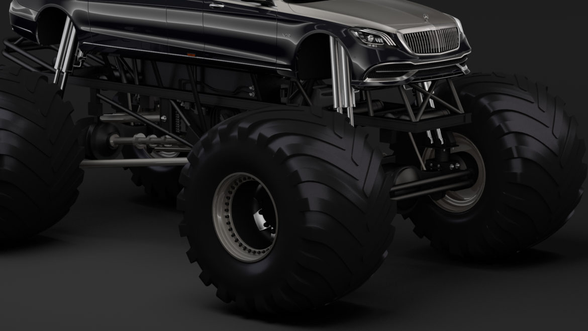 monster truck mercedes maybach s 650 pullman 3d model 3ds max fbx c4d lwo ma mb hrc xsi obj 312108