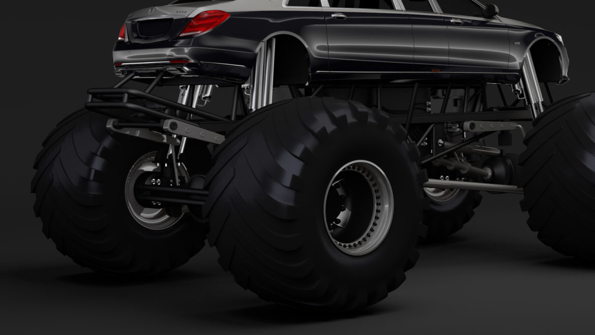 monster truck mercedes maybach s 650 pullman 3d model 3ds max fbx c4d lwo ma mb hrc xsi obj 312111