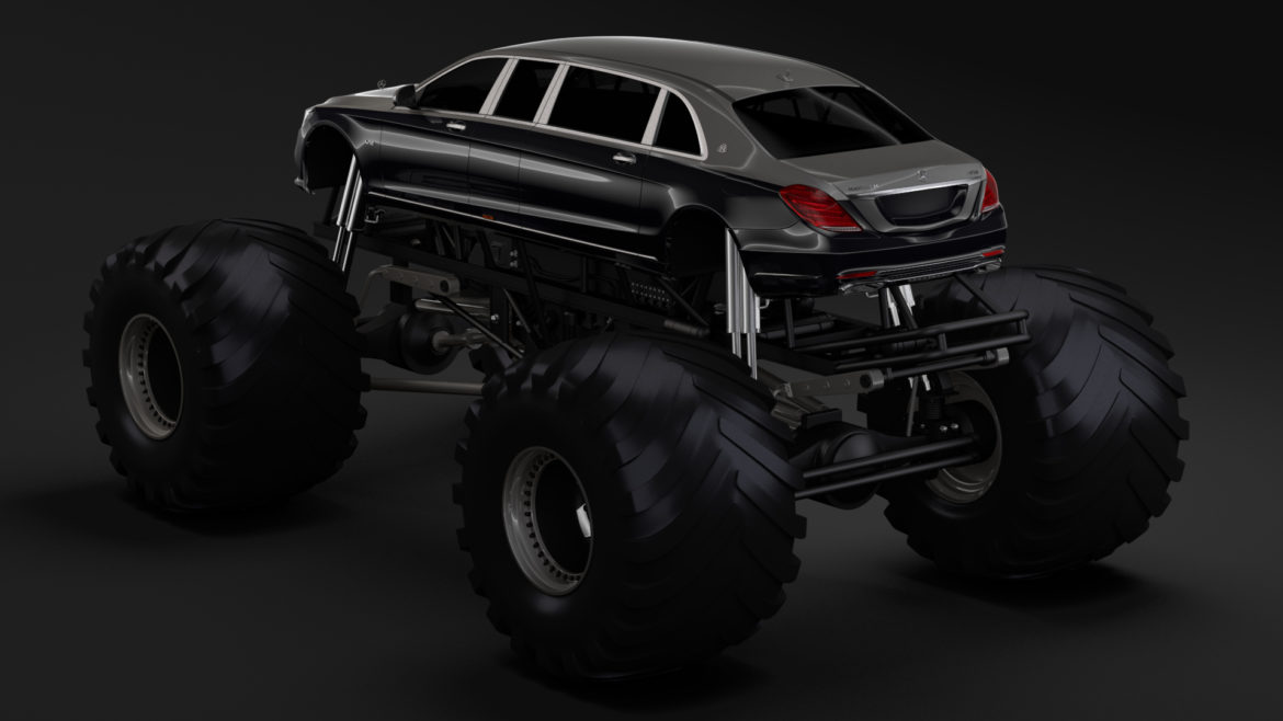 monster truck mercedes maybach s 650 pullman 3d model 3ds max fbx c4d lwo ma mb hrc xsi obj 312112
