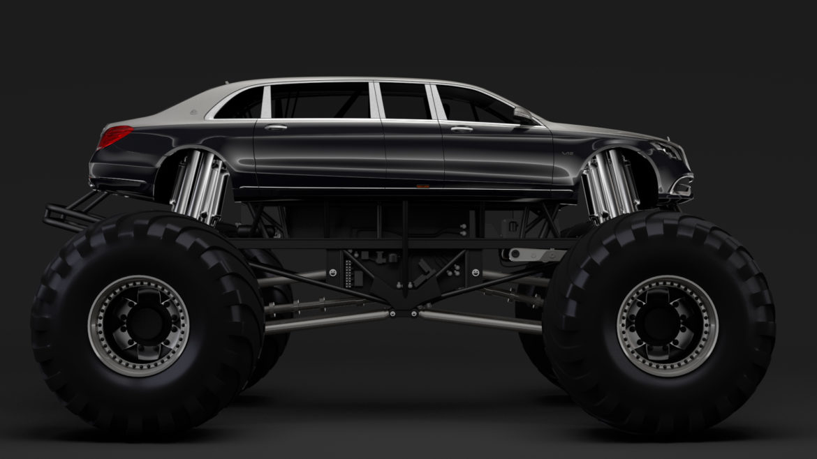 monster truck mercedes maybach s 650 pullman 3d model 3ds max fbx c4d lwo ma mb hrc xsi obj 312113