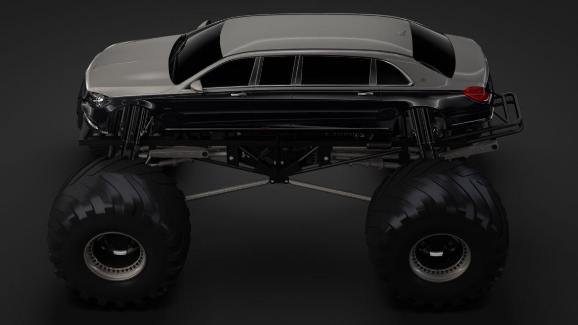monster truck mercedes maybach s 650 pullman 3d model 3ds max fbx c4d lwo ma mb hrc xsi obj 312115