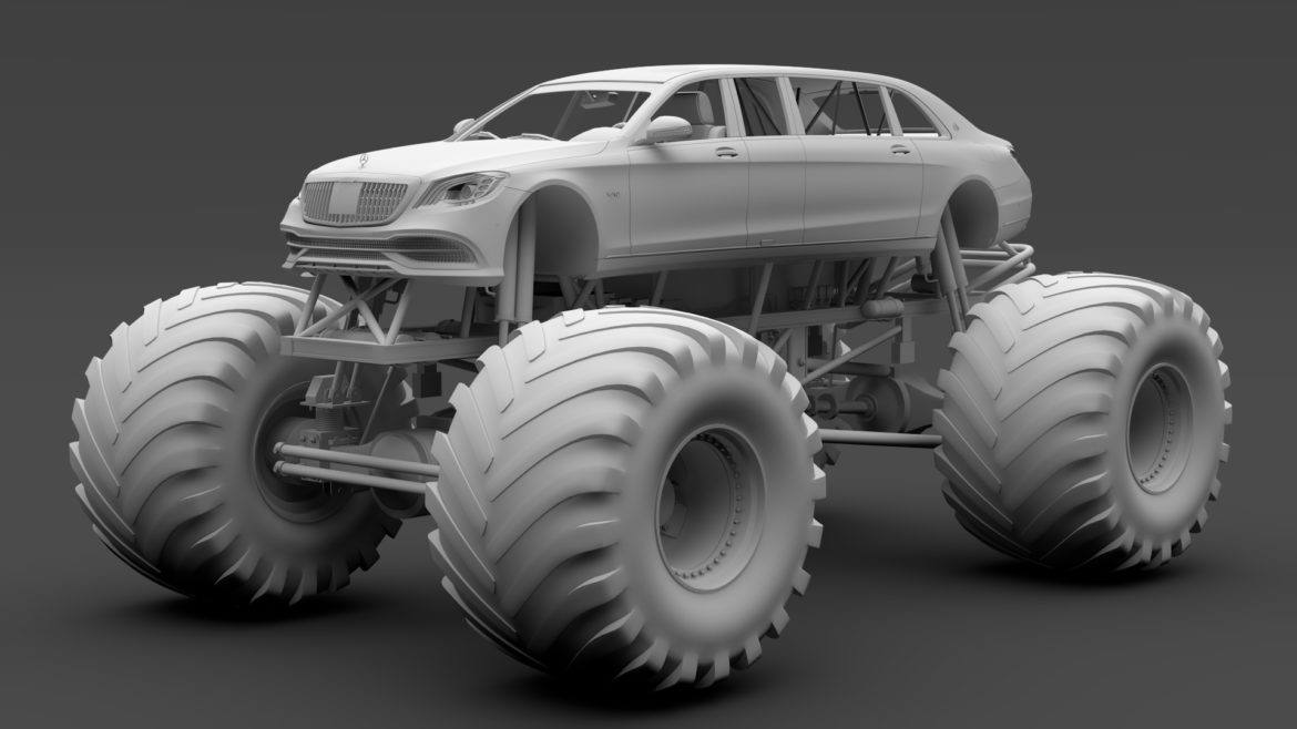 monster truck mercedes maybach s 650 pullman 3d model 3ds max fbx c4d lwo ma mb hrc xsi obj 312119
