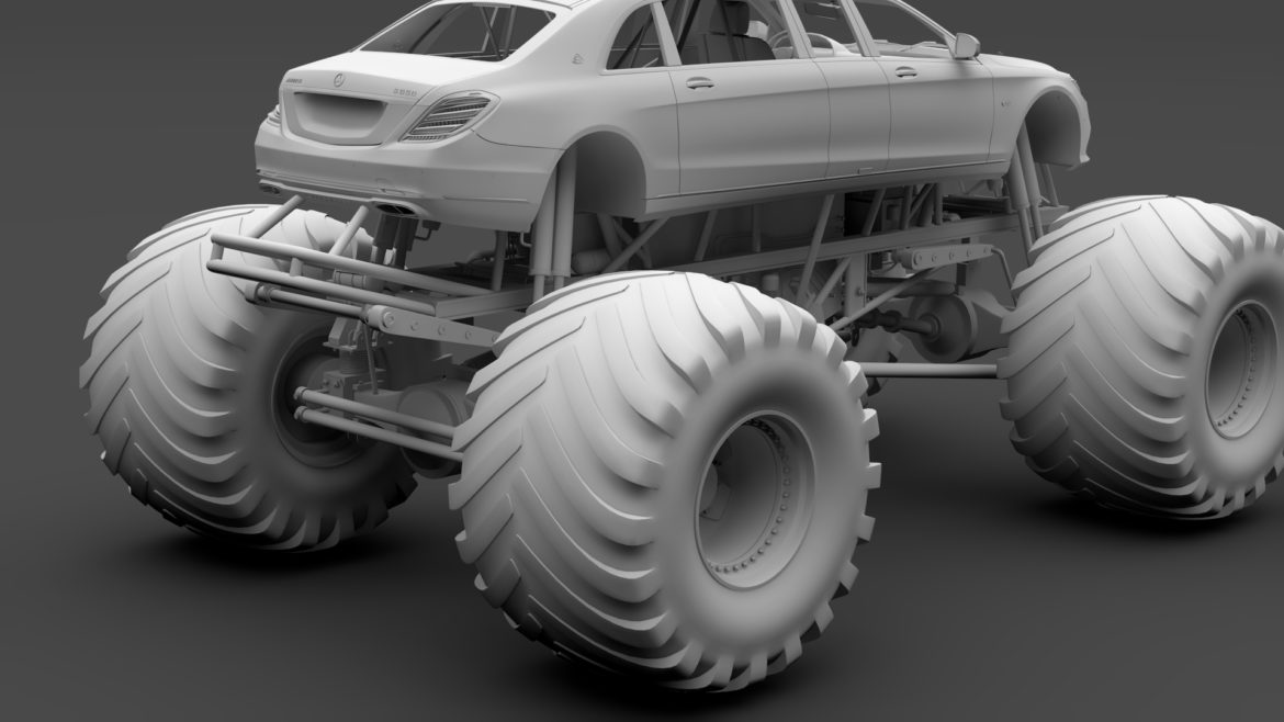 monster truck mercedes maybach s 650 pullman 3d model 3ds max fbx c4d lwo ma mb hrc xsi obj 312121