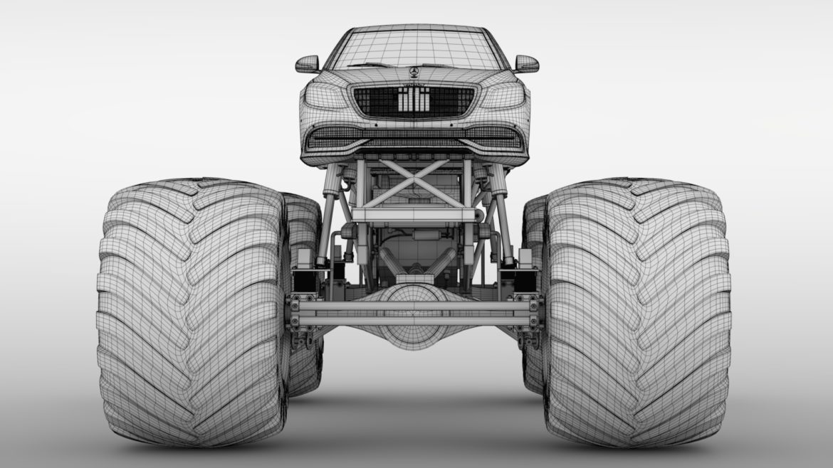 monster truck mercedes maybach s 650 pullman 3d model 3ds max fbx c4d lwo ma mb hrc xsi obj 312122
