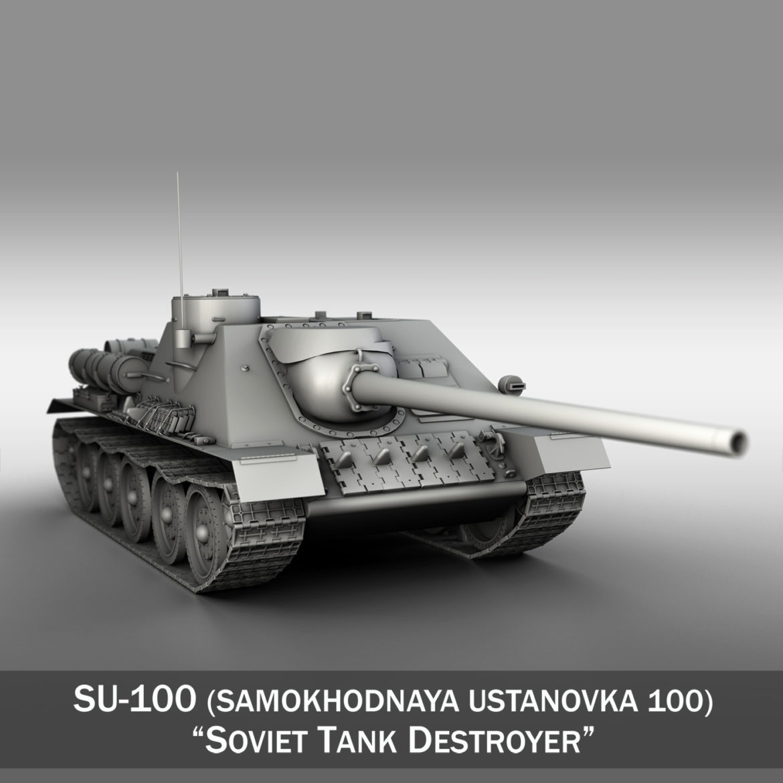 su-100 – soviet tank destroyer 3d model 3ds fbx c4d lwo obj 313441