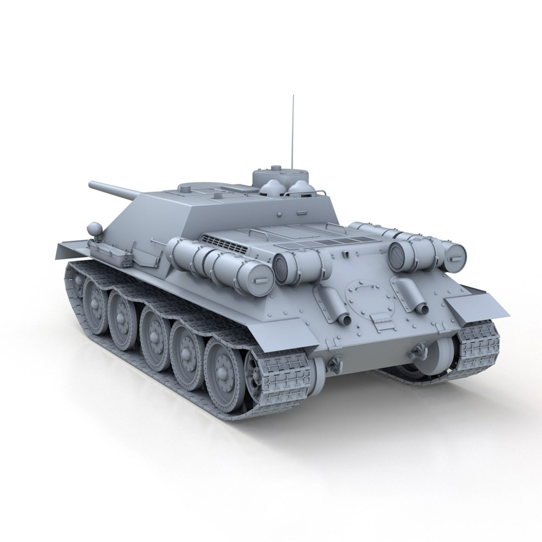 su-100 – soviet tank destroyer 3d model 3ds fbx c4d lwo obj 313443