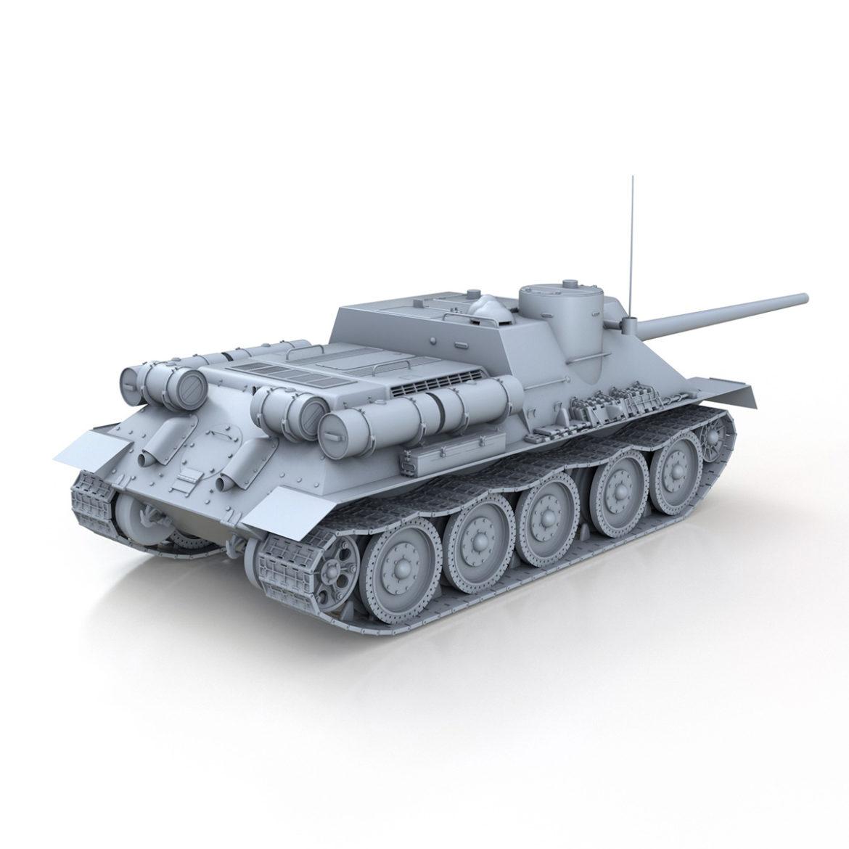 su-100 – soviet tank destroyer 3d model 3ds fbx c4d lwo obj 313445
