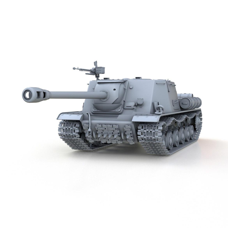 isu-122s - gwn ymosodiad soviet model 3d 3ds fbx c4d lwo 313462