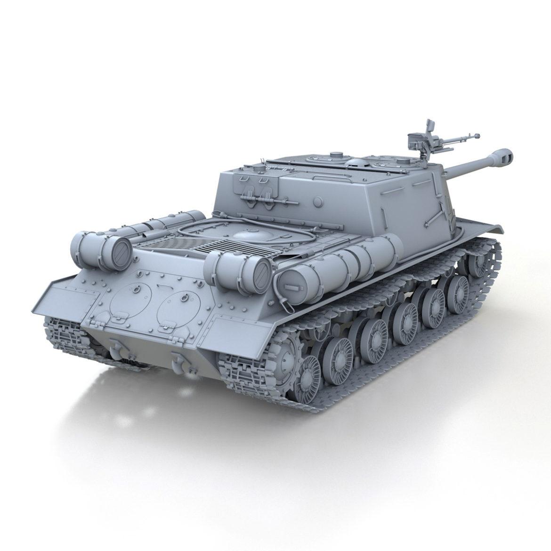 isu-122s - gwn ymosodiad soviet model 3d 3ds fbx c4d lwo 313466