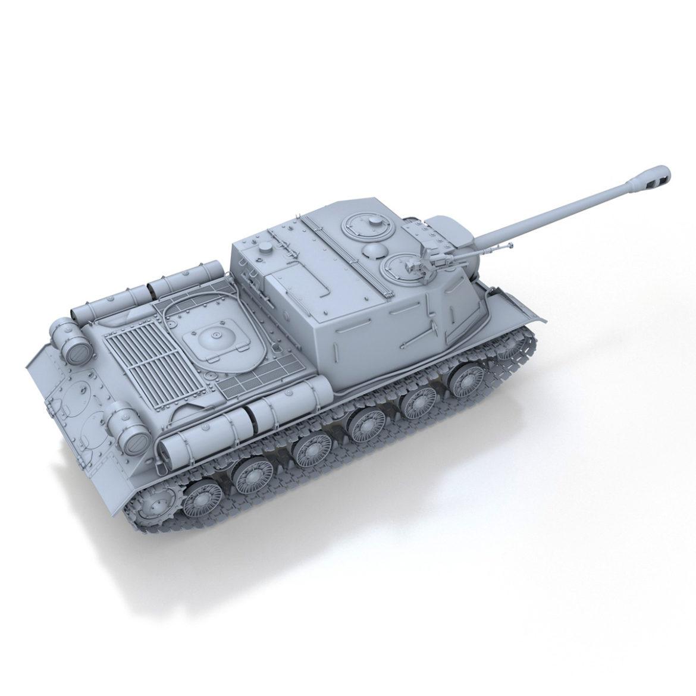 isu-122s - gwn ymosodiad soviet model 3d 3ds fbx c4d lwo 313467