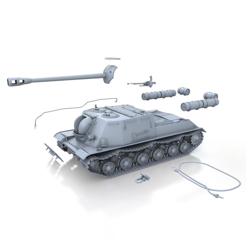 isu-122s - gwn ymosodiad soviet model 3d 3ds fbx c4d lwo 313470