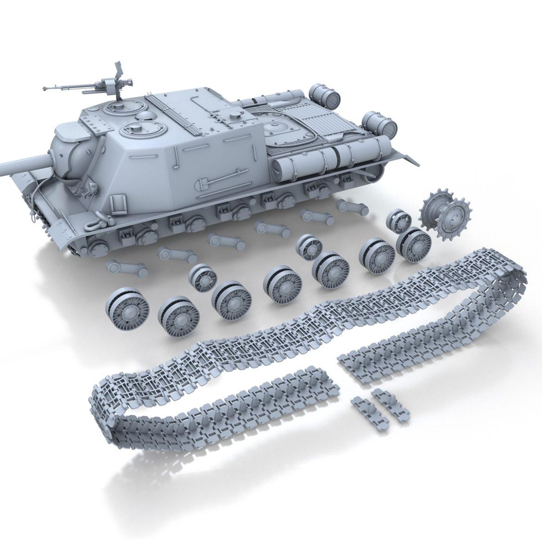 isu-122s - gwn ymosodiad soviet model 3d 3ds fbx c4d lwo 313471