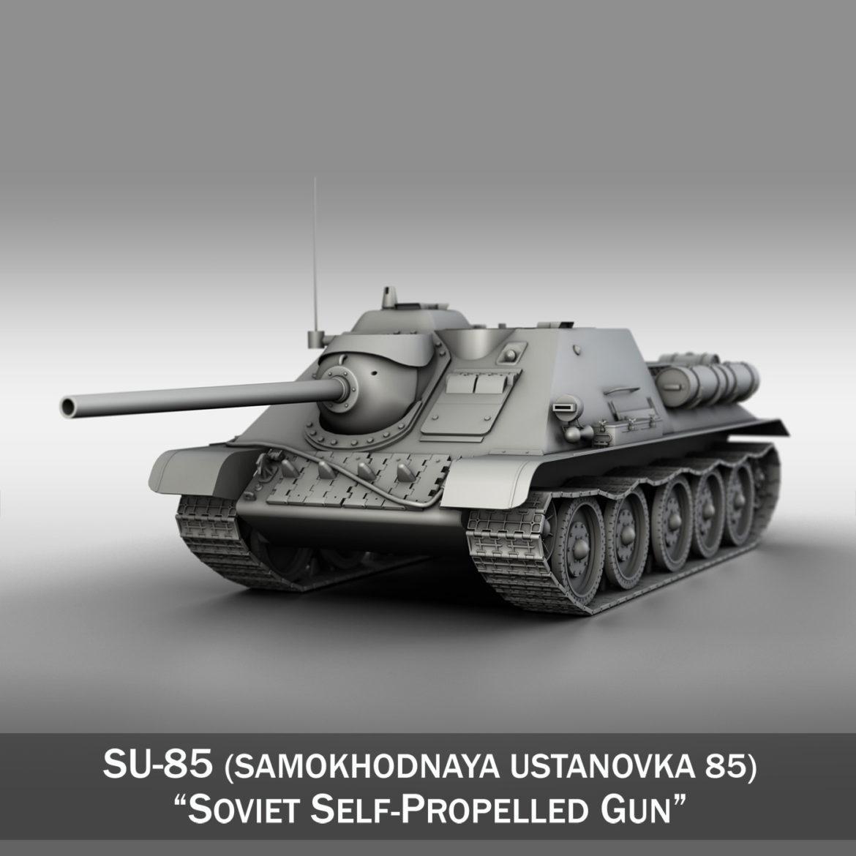SU-85 - radziecki samobieżny pistolet 3D model 3DS FBX C4D LWO OBD 313479