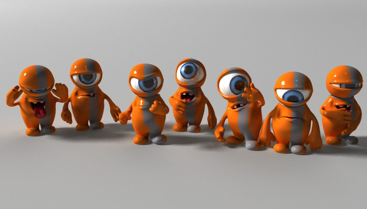 orange alien rigged 3d model 3ds max fbx  obj 313734