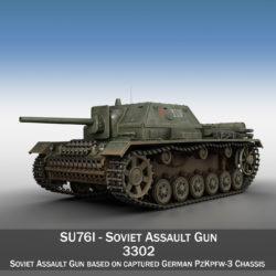su-76i - gunna ionsaí Sóivéadach - 3302 3d múnla 3ds fbx c4d lwo obj 313769
