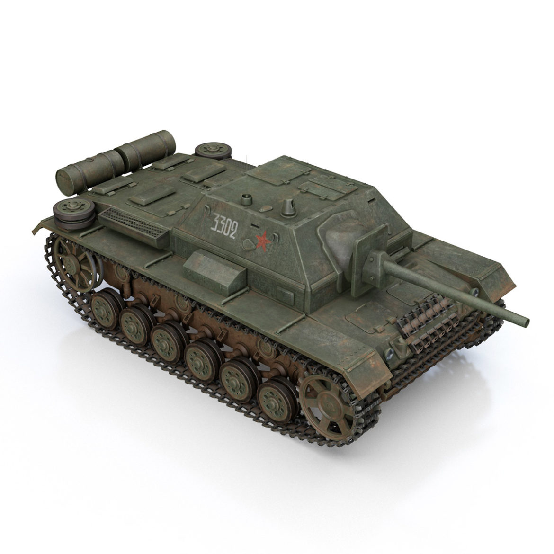 su-76i - зөвлөлтийн довтолгооны буу - 3302 3d загвар 3ds fbx c4d lwo obj 313774