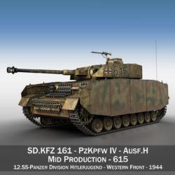 pzkpfw iv - panzer 4 - ausf.h - 615 modello 3d 3ds fbx c4d lwo obj 313800