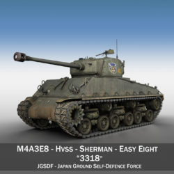 m4a3e8 sherman - jgsdf - 3318 samhail 3d 3ds fbx c4d lwo obj 313808