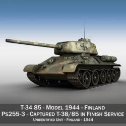 t-34-85 - 212 - gorffen byddin 3d model 3ds fbx c4d lwo gwrthwyneb 314635