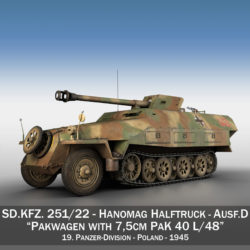 sd.kfz 251/22 ausf.d - pakwagen - 19 pz.div. Samhail 3d 3ds fbx c4d lwo obj 314654