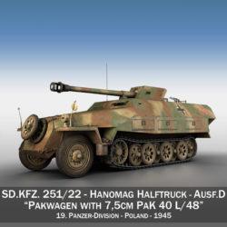 sd.kfz 251/22 ausf.d - pakwagen - 19 pz.div. 3d líkan 3ds fbx c4d lwo obj 314654