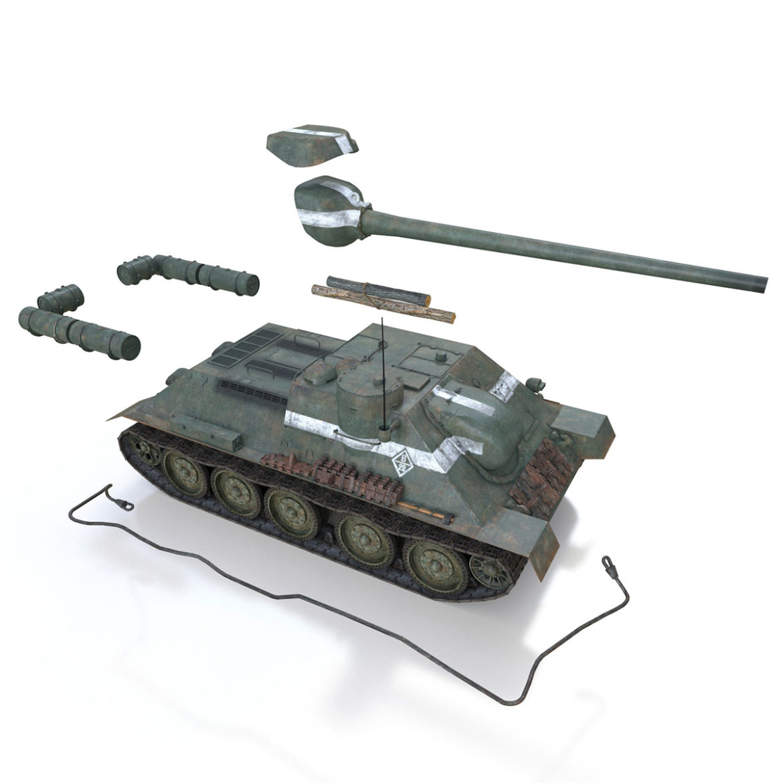 su-100 – 22 – soviet tank destroyer 3d model 3ds fbx c4d lwo obj 314685