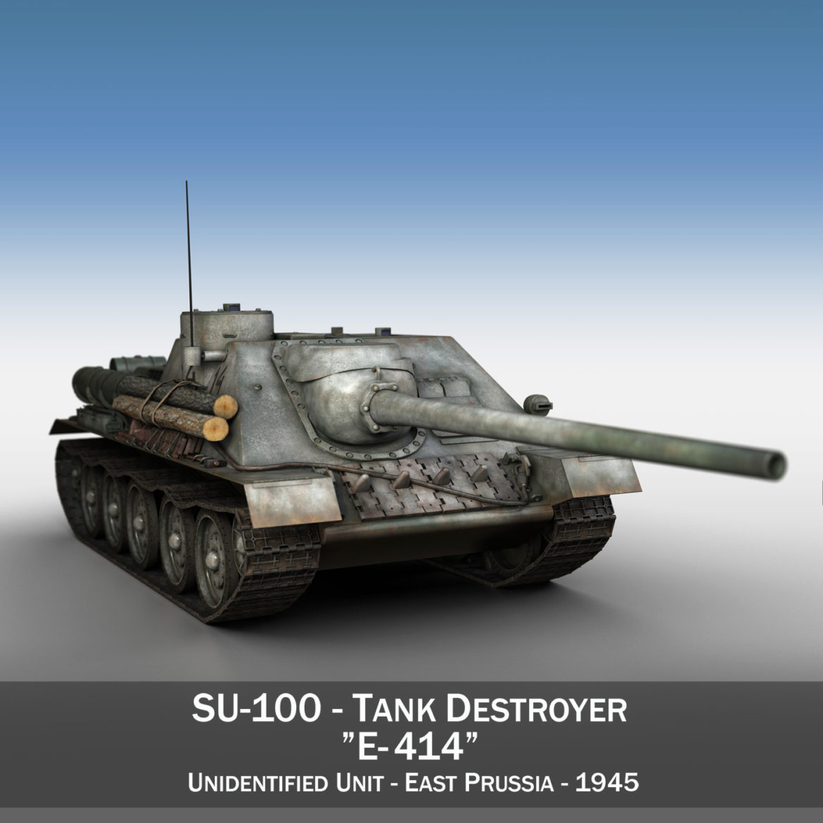 su-100 – e414 – soviet tank destroyer 3d model 3ds c4d lwo obj 314694